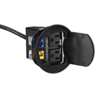 Easy-AV Drop Box with (2) Keystone Openings, (2) AC Power Outlets, Black, Round Cover