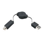 USB Retractable Cable, USB Retractable Cable (Type A Male to Type B Male)