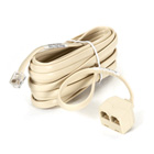 Modular T Adapter, Female/Female, 4- or 6-Wire Adapter, Straight-Pinned, on 15-ft. (4.6-m) Cord