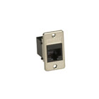 Panel-Mount Modular Coupler, RJ-45, Black