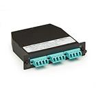 OM3 50-Micron Multimode Fiber Optic Cassette (LGX), 12-Strand MTP to (6) LC Duplex Pairs