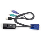 ServSelect PS/2 Style Virtual Media Module, (1) RJ-45 Male, (2) 6-Pin Mini DIN Male, (1) USB Type A Male