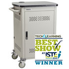 10-Device Chromebook and Laptop Cart - Single Frame with Medium Slots and Hinged Door