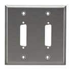 Stainless Steel Wallplate, DB25, Double-Width, 2-Punch