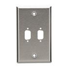 Stainless Steel Wallplate, DB9, Single-Width, 2-Punch