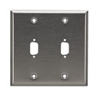 Stainless Steel Wallplate, DB9, Double-Width, 2-Punch