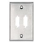 Stainless Steel Wallplate, DB15, Single-Width, 2-Punch