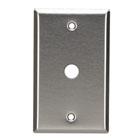 Stainless Steel Wallplate, Coax (No Jack), Single-Width, 1-Punch
