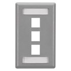 GigaStation Wallplate, 3-Port, Single-Gang, Gray