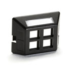 Modular Furniture Faceplate for Steelcase, Haworth, HON, and Knoll Furniture, 4-Port, Black