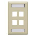 GigaStation Wallplate, 4-Port, Single-Gang, Electric Ivory