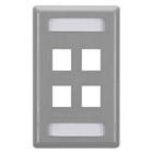GigaStation Wallplate, 4-Port, Single-Gang, Gray
