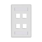 GigaStation Plus Wallplate, Single-Gang, 4-Port, White