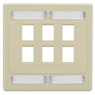 Category 7 S/FTP Faceplate, Double-Gang, 6-Port, Ivory
