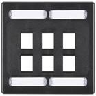 CAT6a F/UTP Faceplate, Dual-Gang, 6-Port, Black