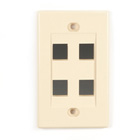 Black Box Connect Wallplate - Single-Gang, Ivory, 4-Port, 10-Pack
