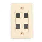 Black Box Connect Wallplate - Single-Gang, Ivory, 4-Port