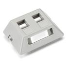 GigaBase2 Modular Furniture Faceplate, 2-Port, Gray
