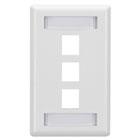 GigaStation2 Wallplate, 3-Port Single-Gang, White