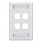 GigaStation2 Wallplate, 4-Port Single-Gang, White