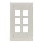 GigaStation2 Wallplate, 6-Port Single-Gang, Office White