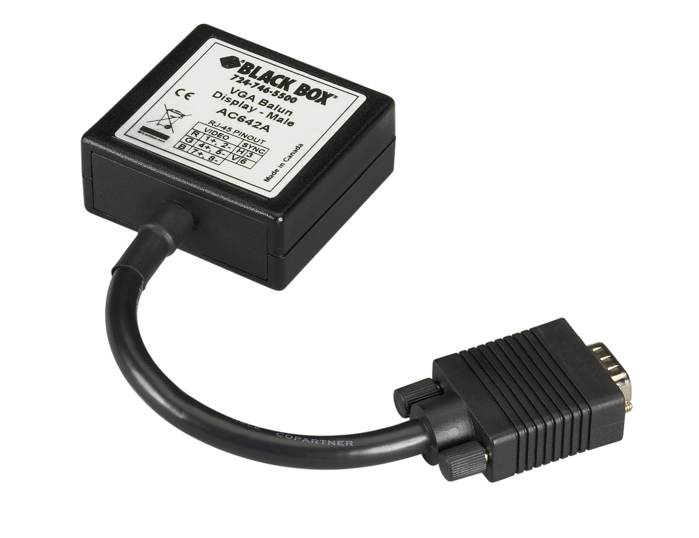 VGA Display Balun, Male