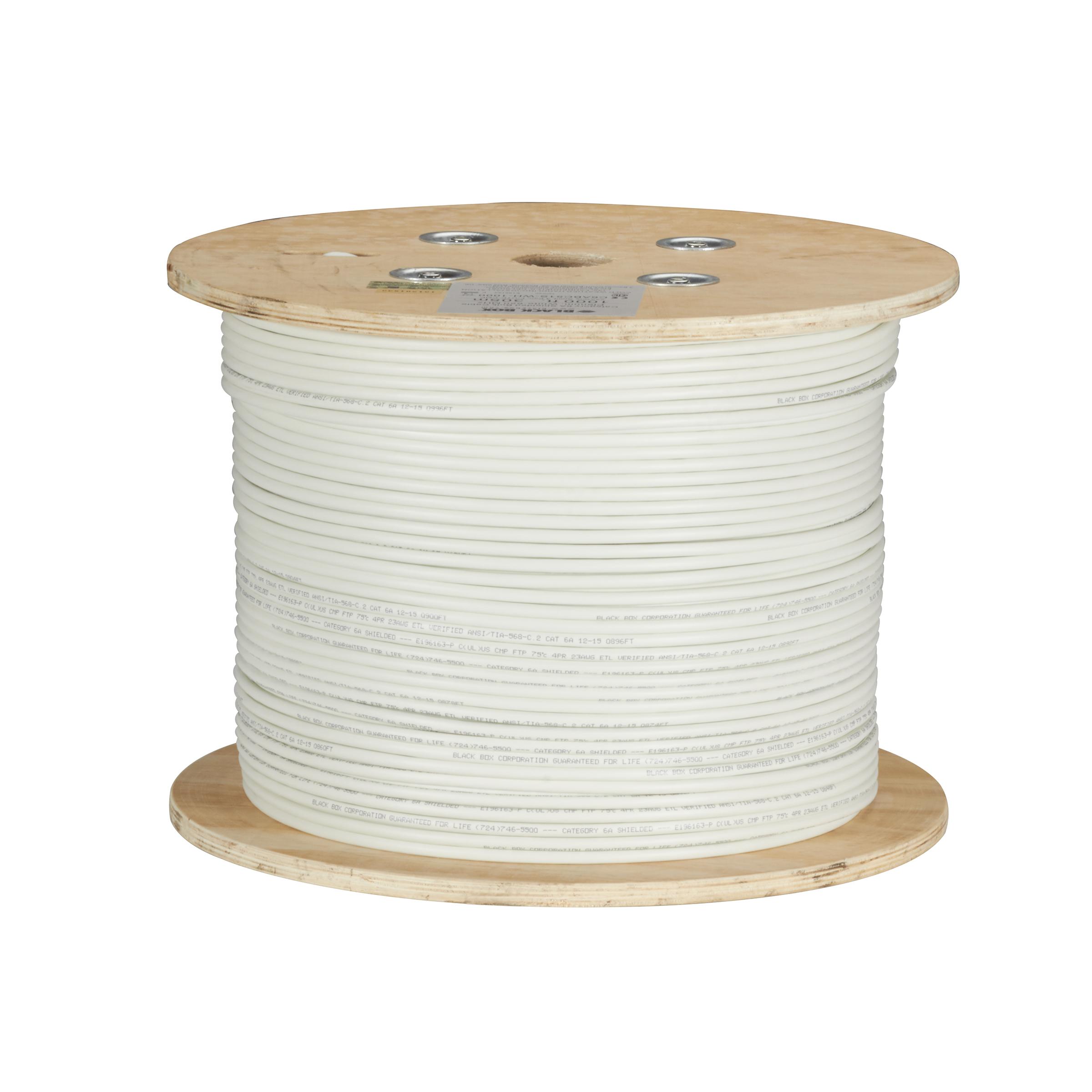 1000FT CAT6A 650MHz Solid Bulk Cable F/UTP CM White   Black Box