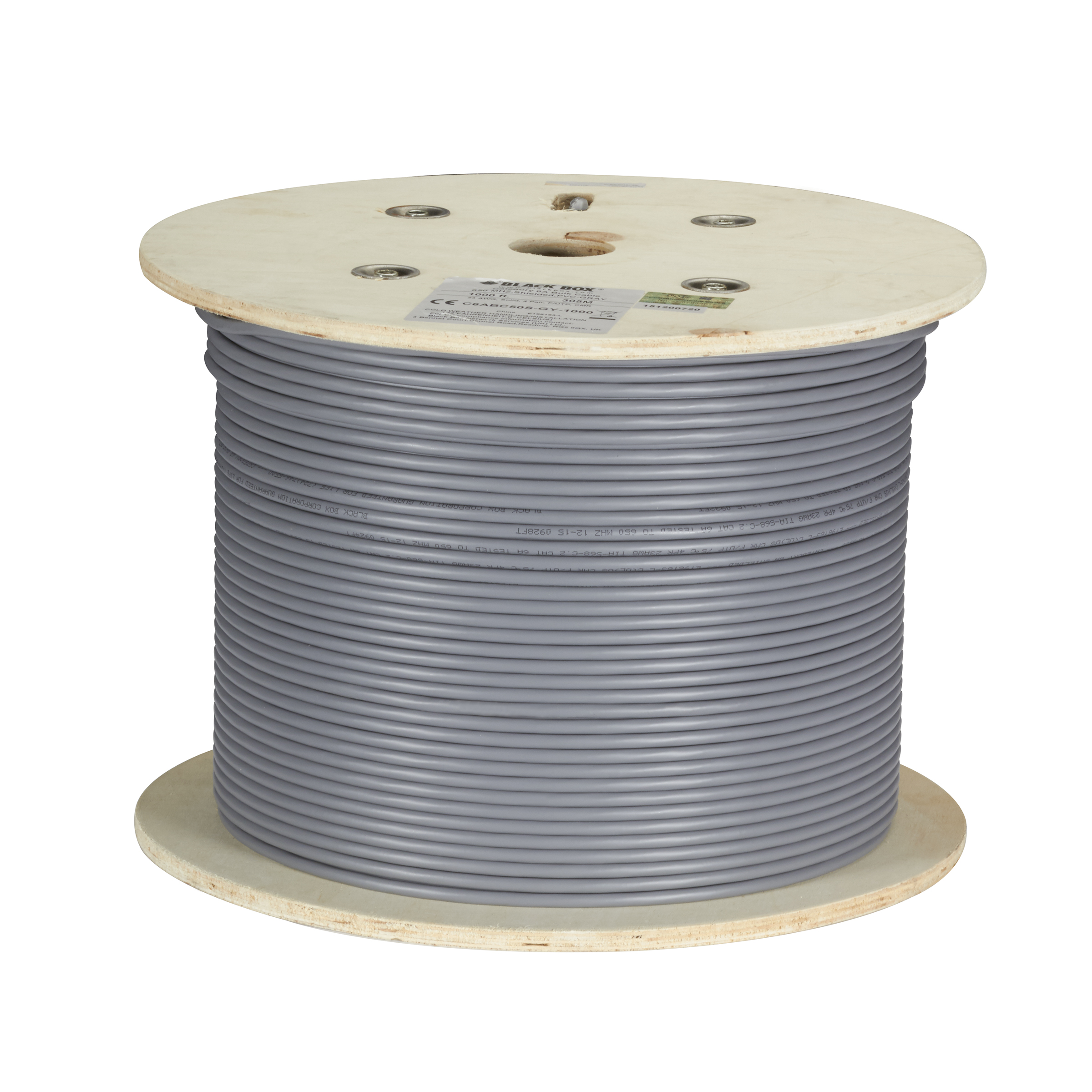 1000\' CAT6A 650MHz Solid Bulk Cable F/UTP CMP Gray | Black Box