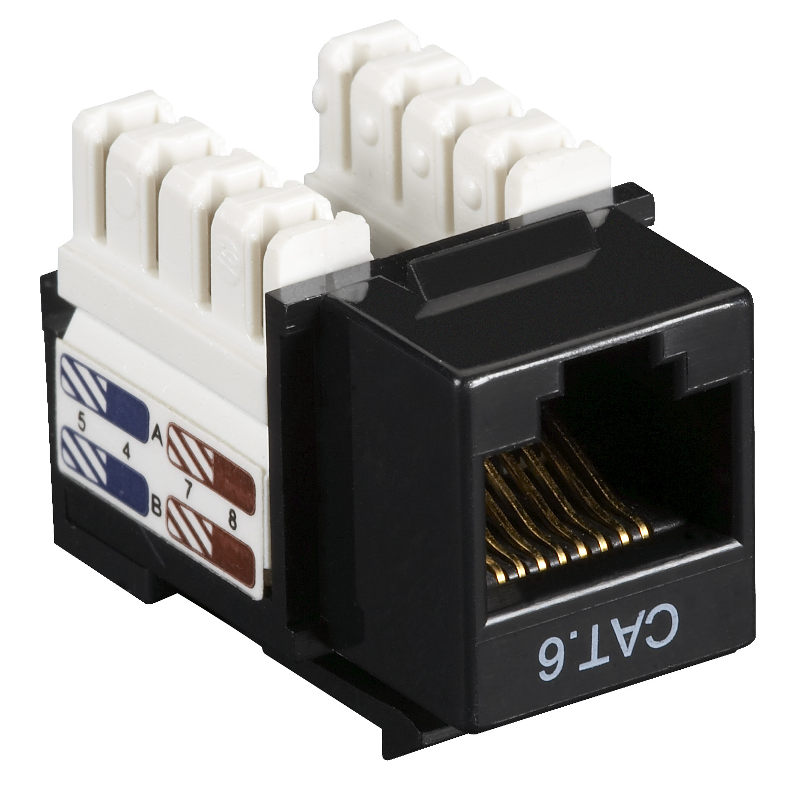 Black Box Connect CAT6 RJ-45 Keystone Jack - Unshielded, Black, 5-Pack