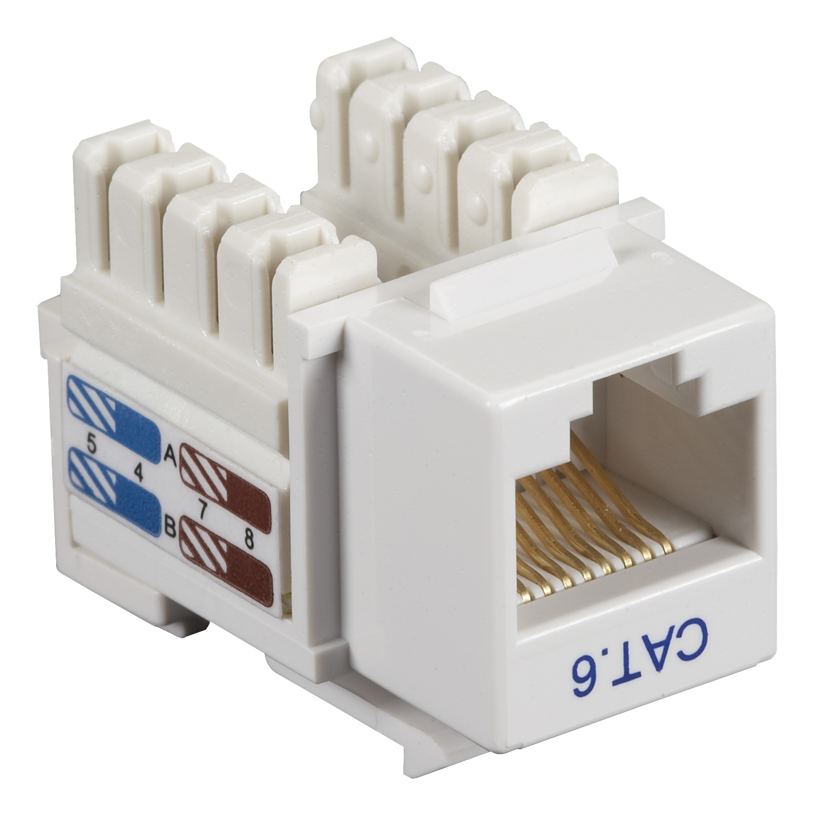 Black Box Connect CAT6 RJ-45 Keystone Jack - Unshielded, White, 10-Pack