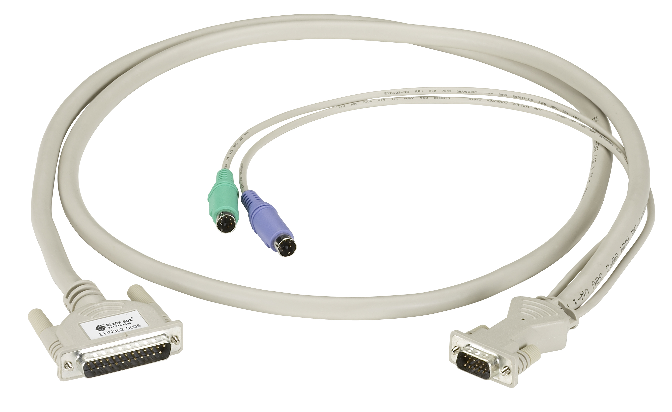KVM CPU/Server Cable with Audio, PC, PS/2 Coax, 5-ft. (1.5-m)