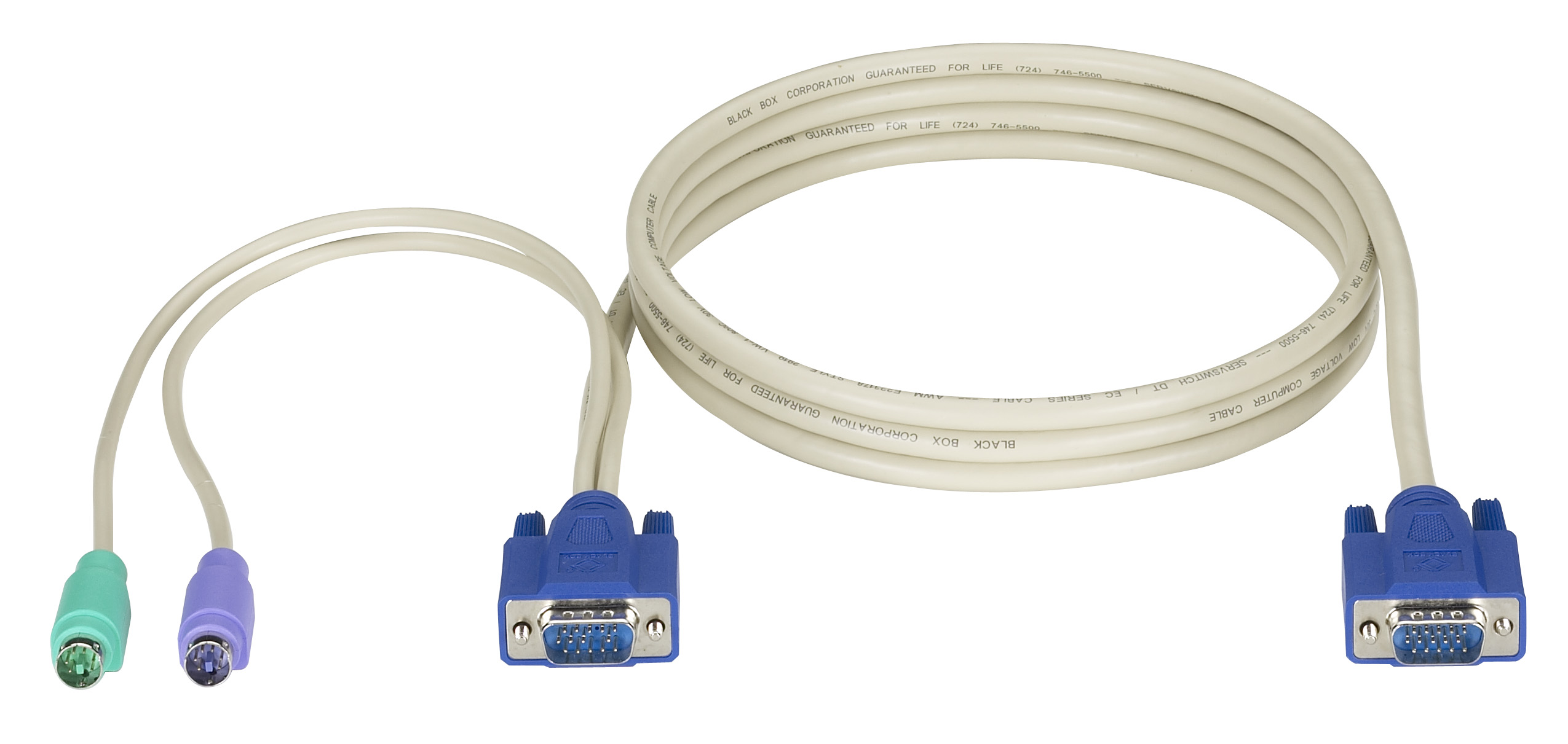 KVM CPU Cable, EC Series & DT Low Profile Series, VGA, PS/2, 6-ft.