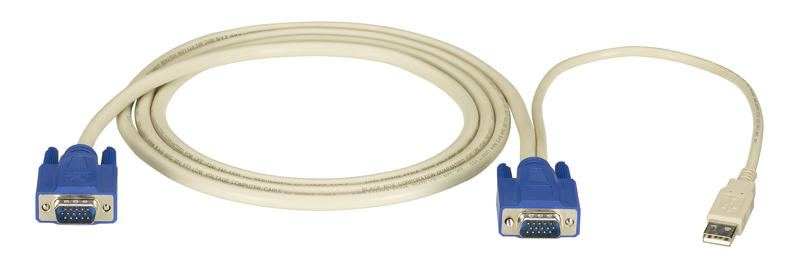 KVM CPU Cable, EC Series, VGA, USB, 6-ft