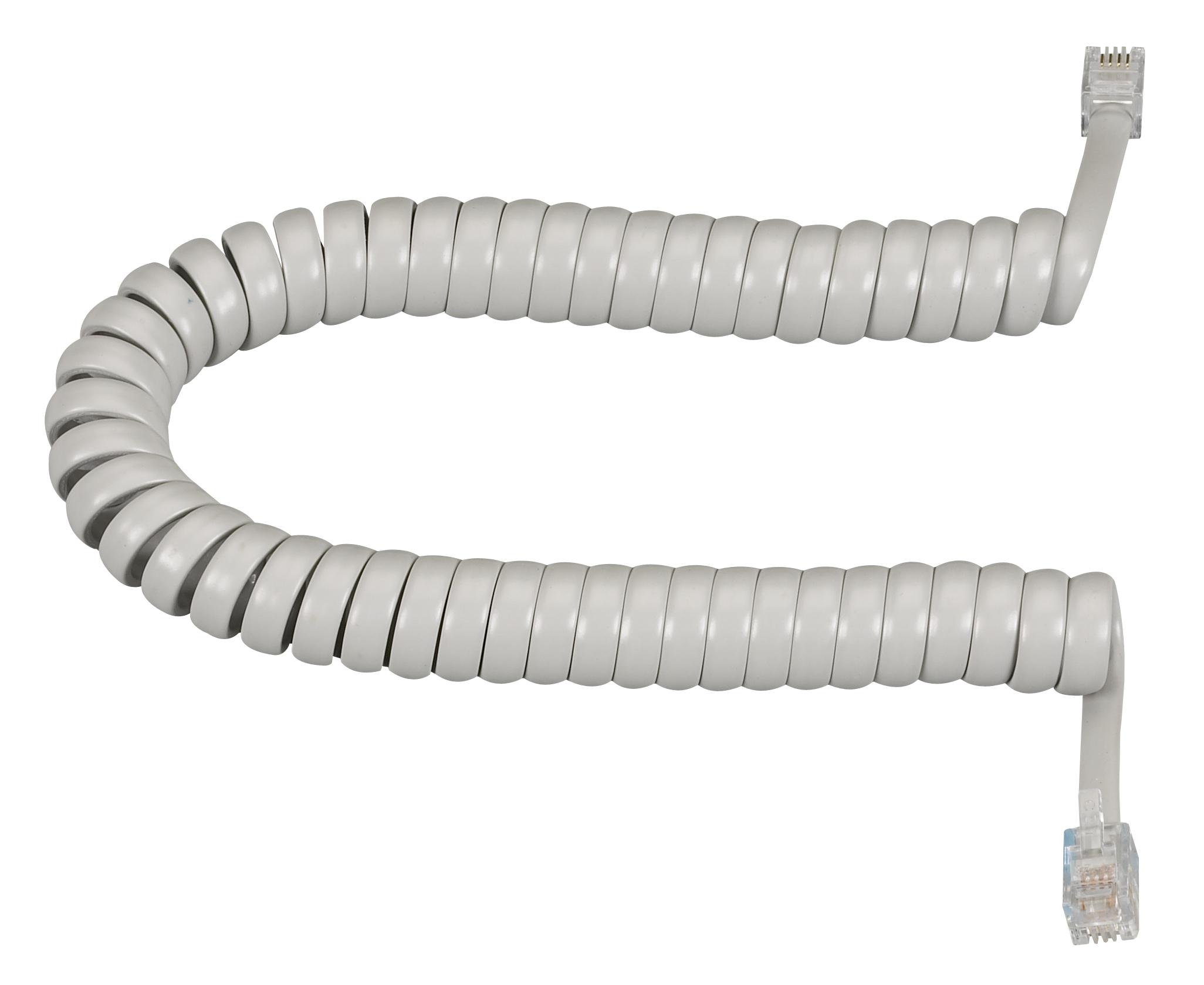 Telephone Coiled Handset Cord Light Gray 6Ft.