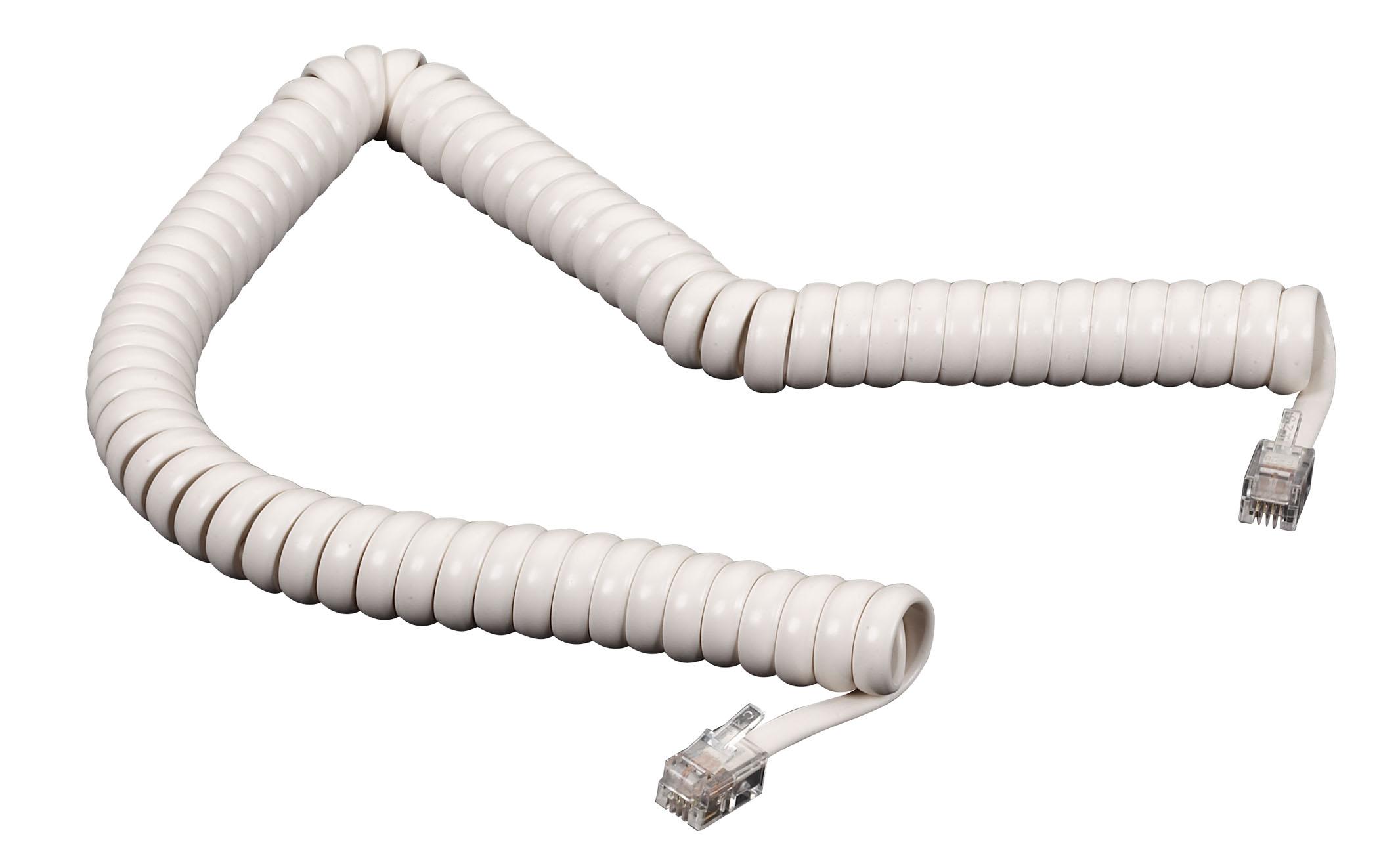Telephone Coiled Handset Cord White 6Ft.