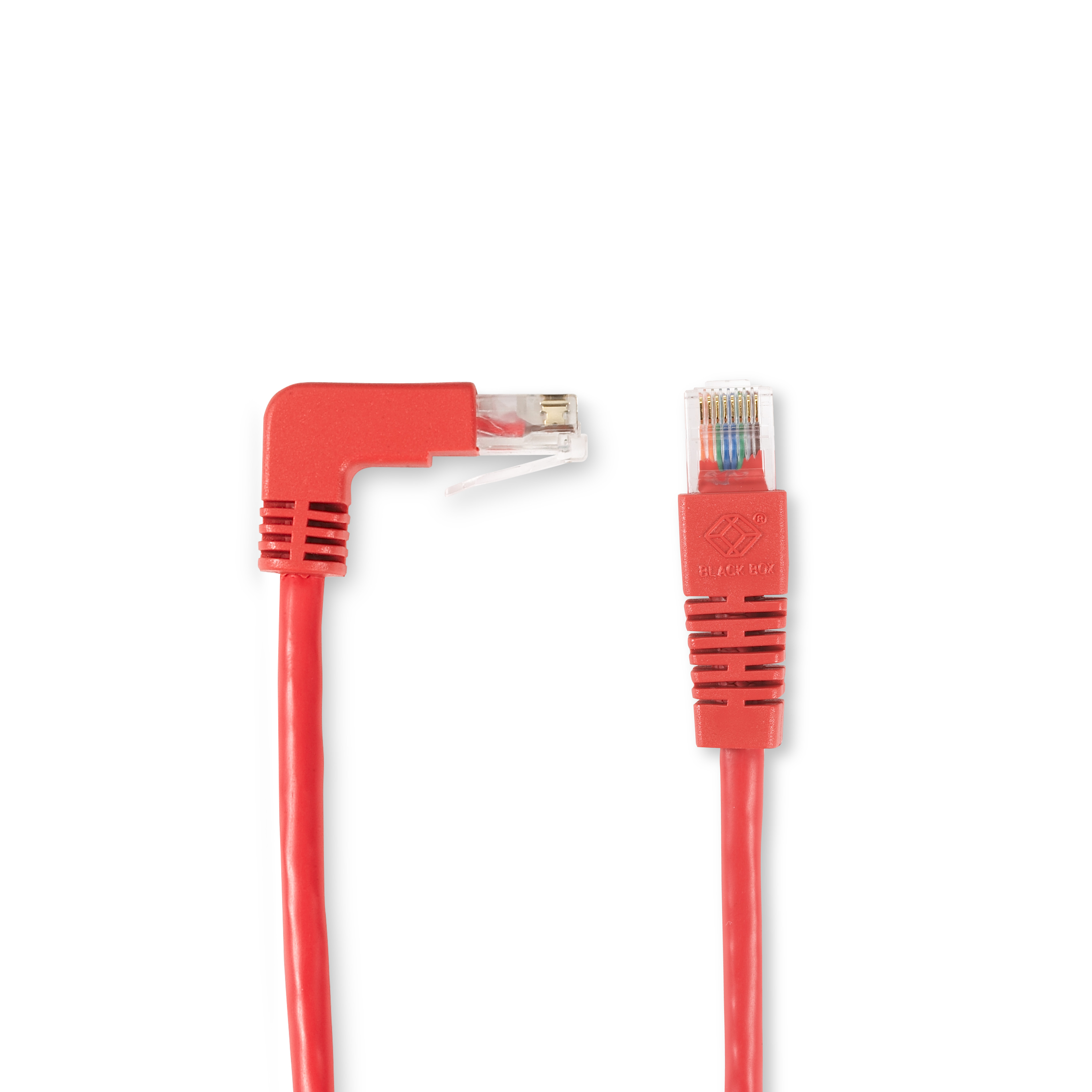 1FT Red CAT5e 100MHz Angled Patch Cable UTP Down-Straight | Black Box