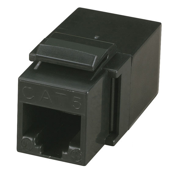 Unshielded CAT5e Modular Feed-Thru Coupler, Black