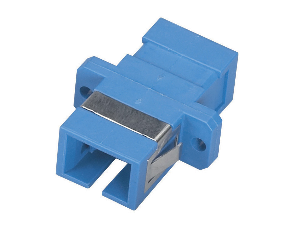 Fiber Optic Coupling, SC–SC, Rectangular Mounting, Multimode, Simplex, Bronze Sleeve, Plastic Flange