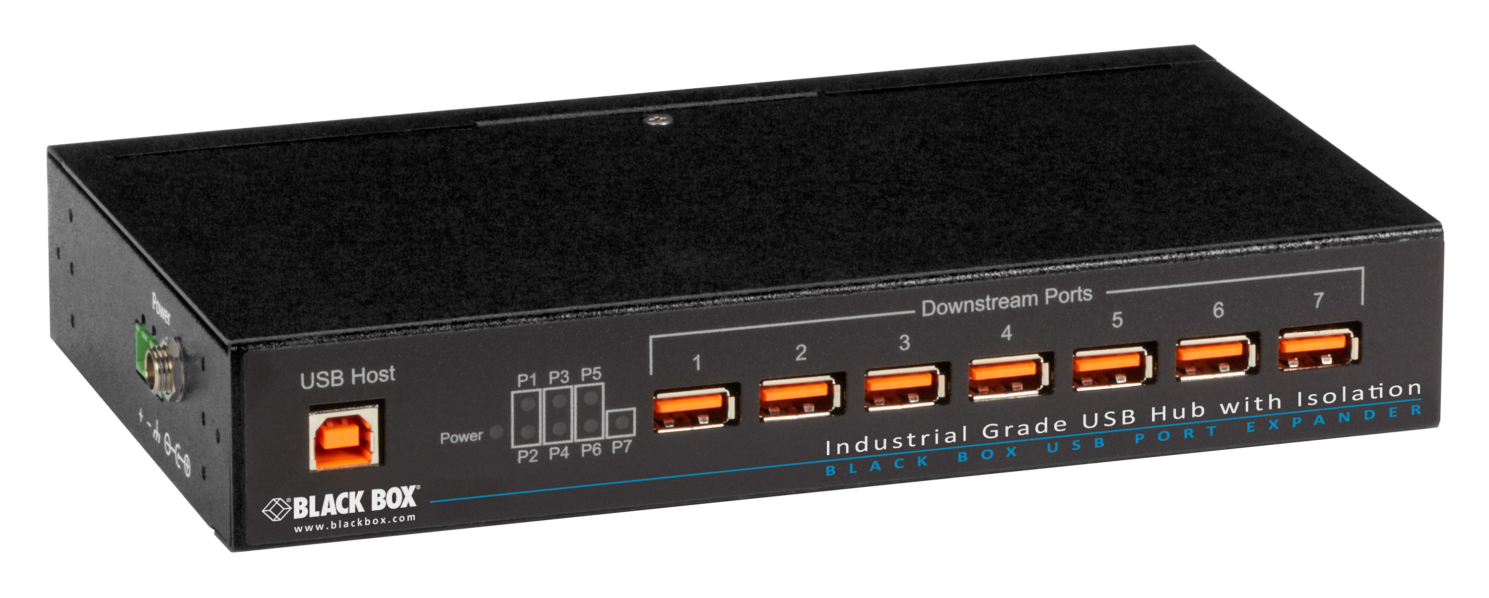7 port USB 2.0 hub industrial with isolation