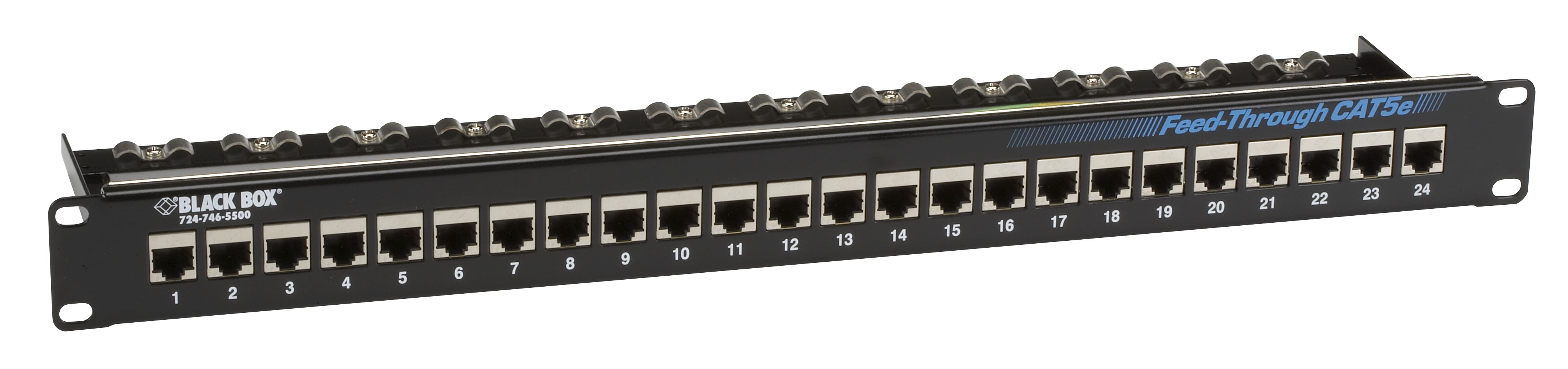 Cat5e Feedthrough Patchpanel 1u Unshielded 24port Black Box