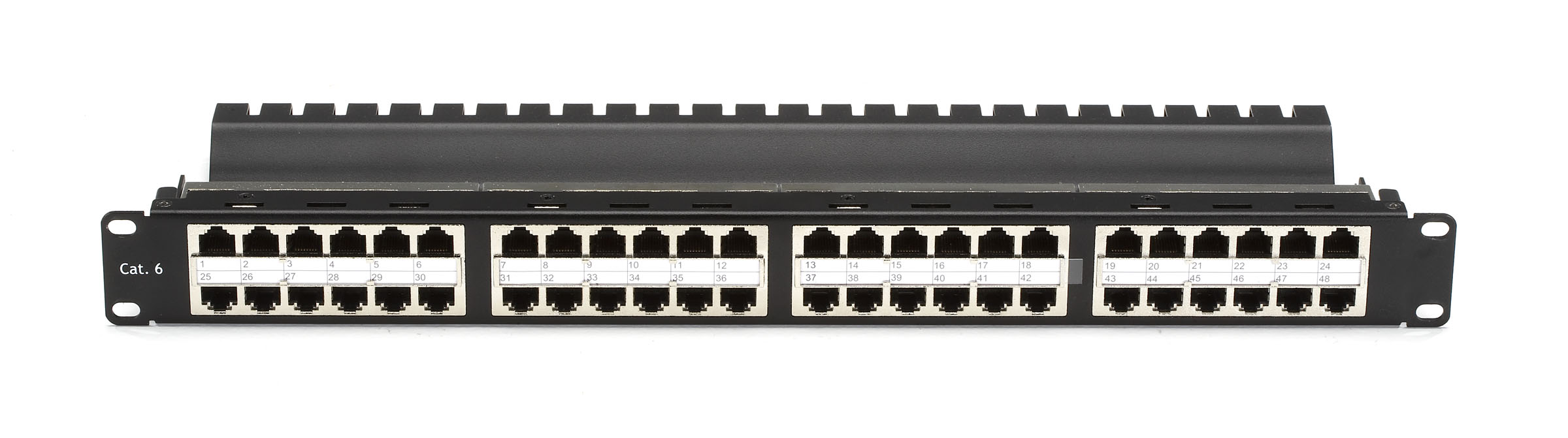 Cat6 patch panel, feed-through, 2u, shielded, 48-port | black box.