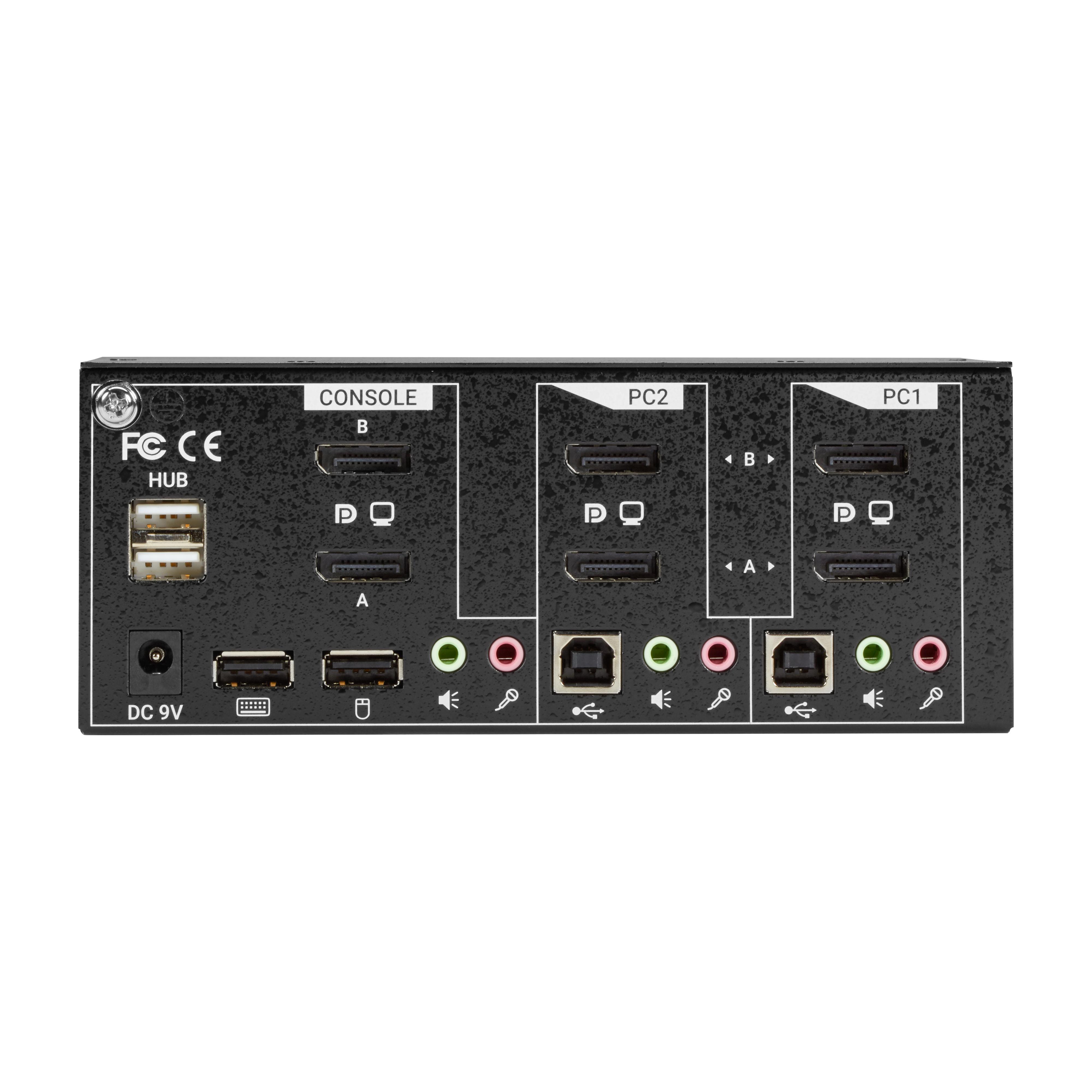 Desktop KVM Switch DisplayPort USB Audio Dual Head 2 Port