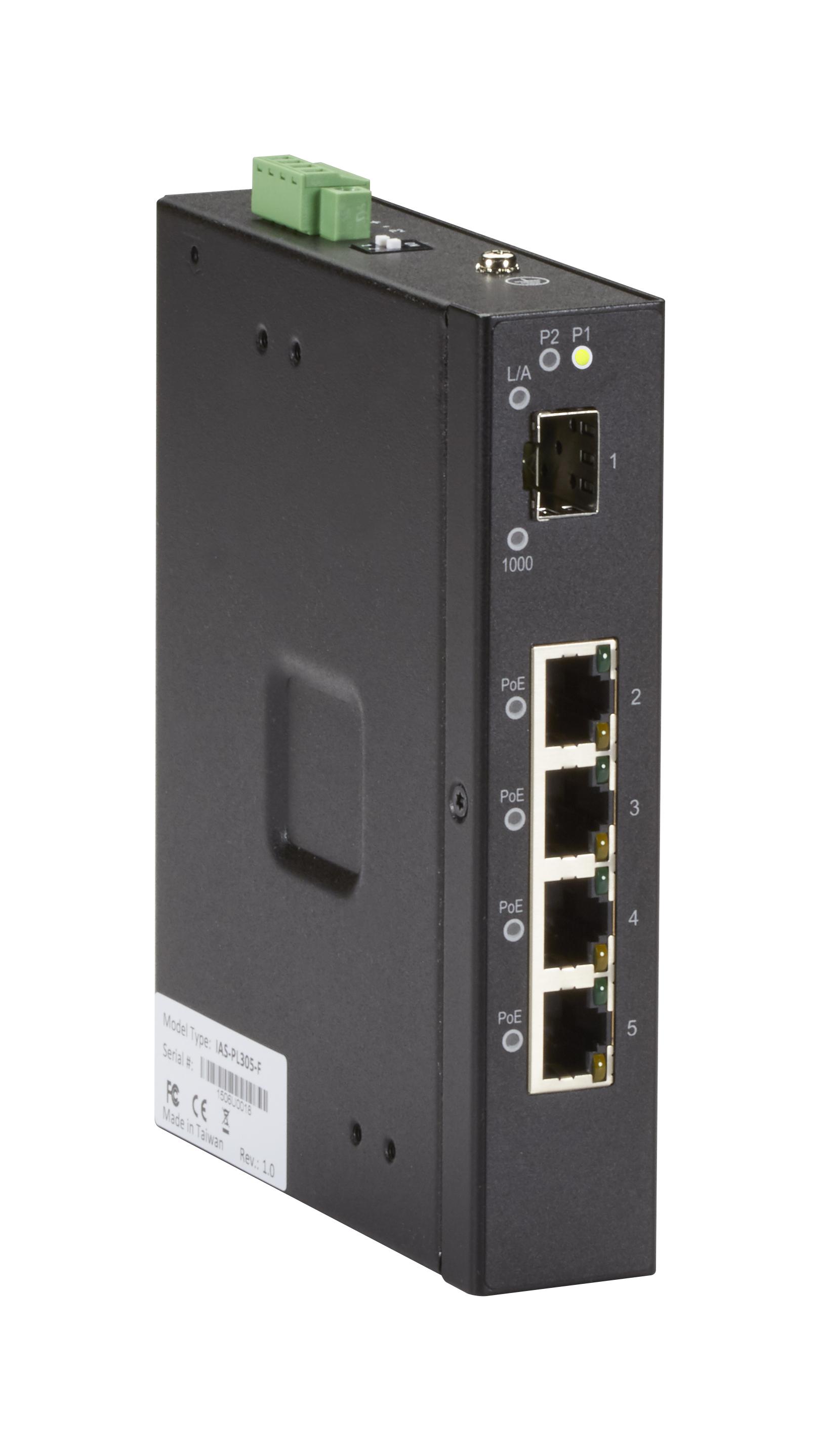 Industrial Gigabit Ethernet PoE+ Switch - (4) RJ-45, (1) SFP