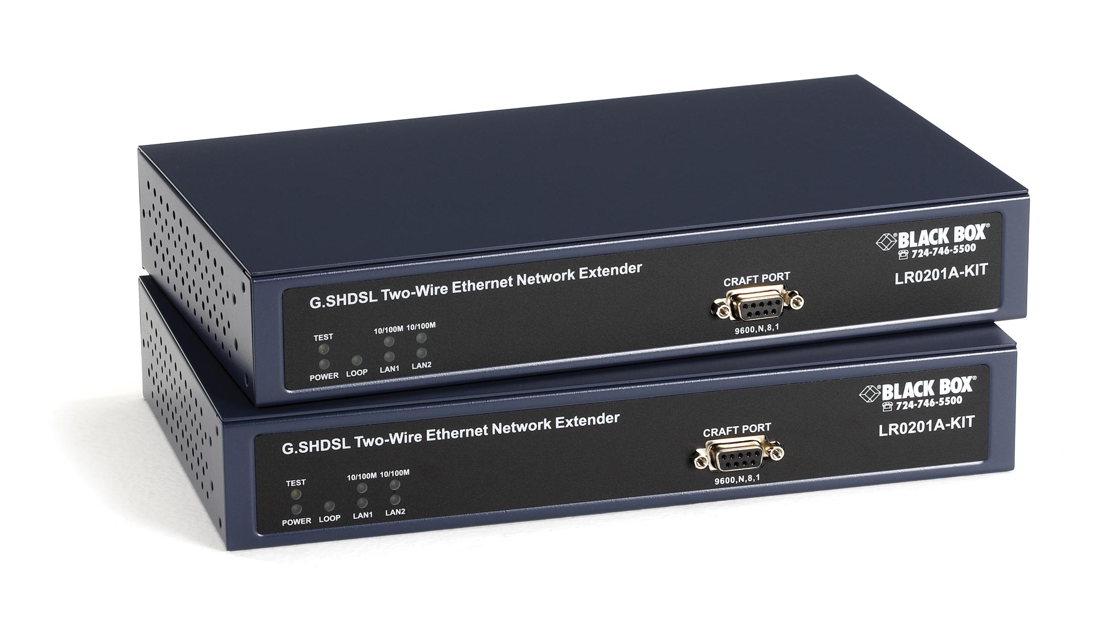 2 port managed ethernet extender kit black box - Wireless extender with ethernet ports ...