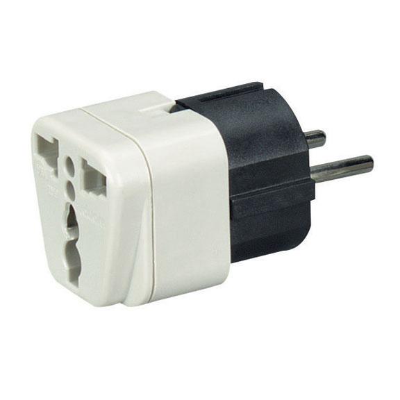 Power Plug Adapter, US to EU, ME, Africa, Asia, & SA | Black Box