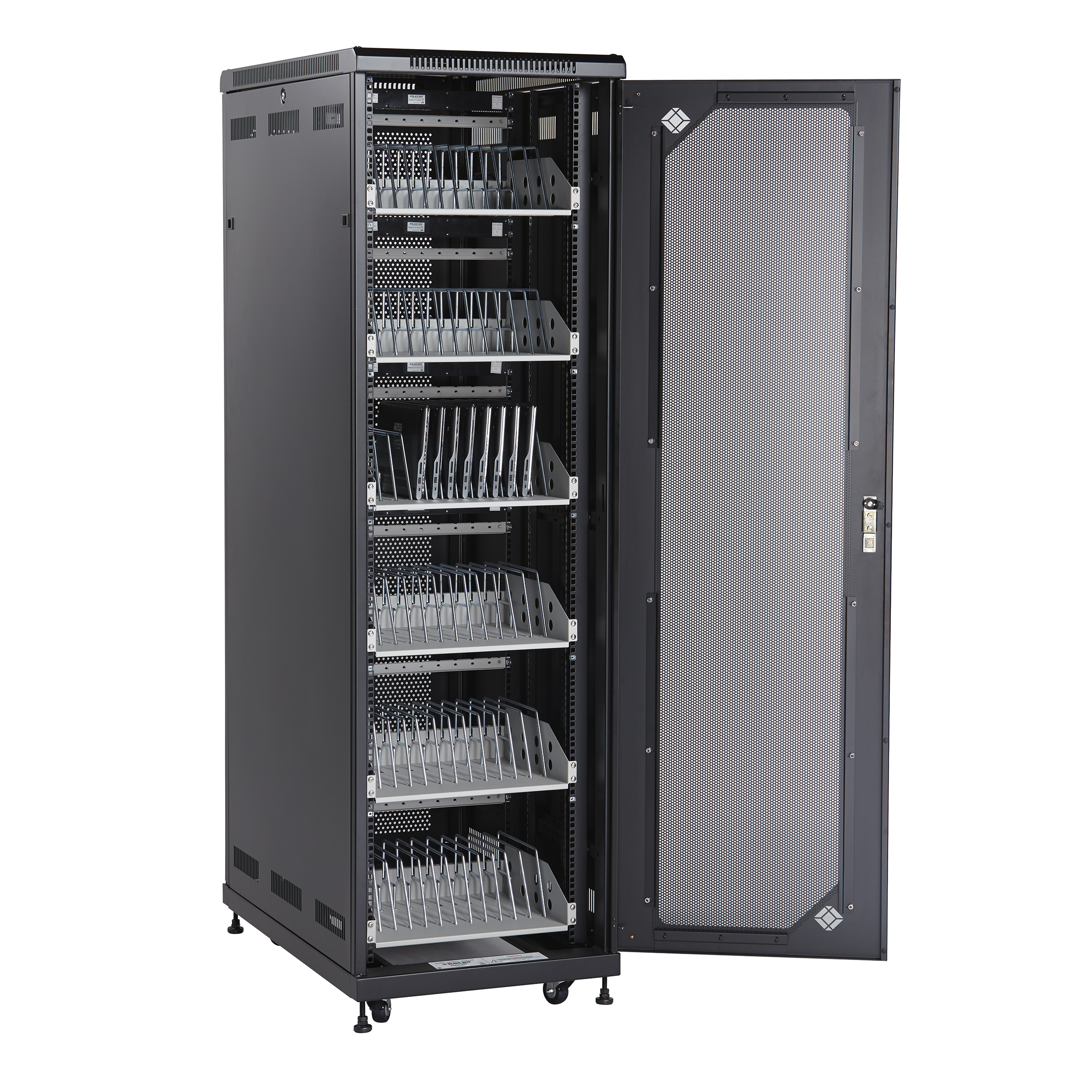 laptop storage rack 72 device mass charging cabinet black box 22463