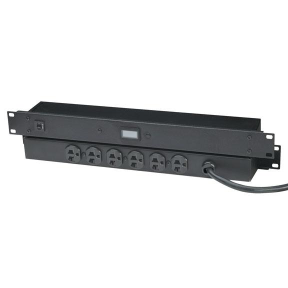 1u 6 Rear Outlet Switchable Racksurge Suppressor 400 V Black Box
