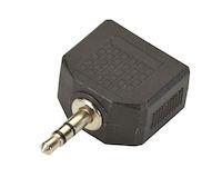 Stereo Audio Splitter, (1) 3.5-mm Male to (2) 3.5-mm Female