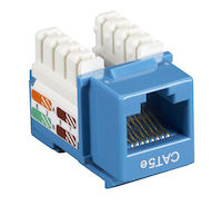 Cat5E Unshielded RJ45 Keystone Jack Blue 25-Pack