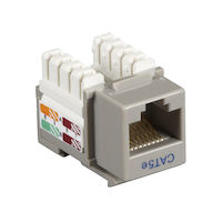 Connect CAT5e Keystone Jack - Unshielded, RJ-45, Gray, 5-Pack